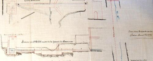Planta y alzado a escala 1:1pp de la mina de Barrenas y las estructuras asociadas. Año 1900.