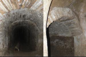 Bóveda de cañón forrada de ladrillo macizo en una de las galerías transversales y rosca del arco del acceso.
