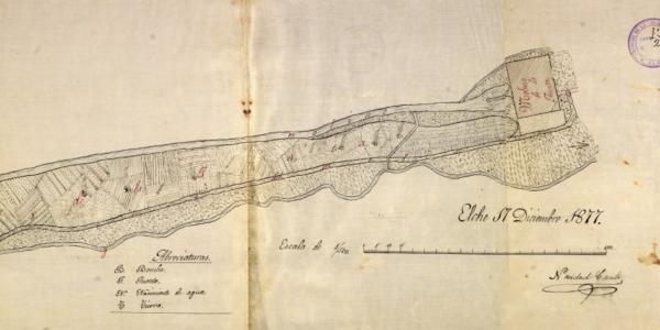 Plano a escala 1:500 del Molino de Meseguera (1877)