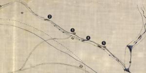Plano del Tarafa con la ubicación de los molinos y presas de derivación (1877)