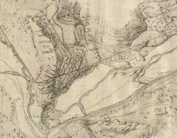 El río del Vinalopó entre los molinos de Samarra y del Río. Plano de M.Chapuli (1882)