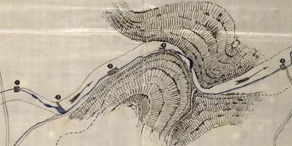 Molinos del Vinalopó entre el Castillo del Río y la cola del Pantano de Elche. 1877