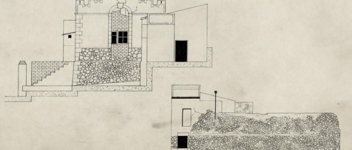 Alzado frontal del Molino de Caraseta y fachada lateral de la Fábrica de la Luz. (Planos Autor Jose Ramón García Gandía)